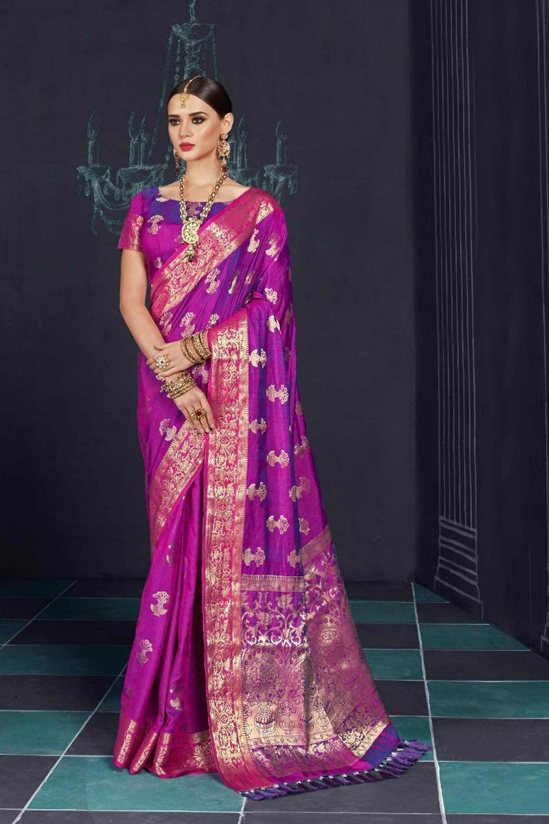 Classical Art Silk Designer Party Wear Purple Printed Saree