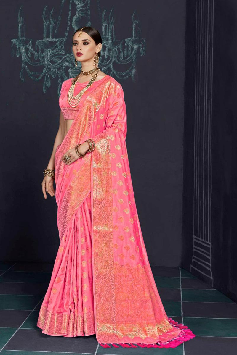 Soothing Pink Color Designer Party Wear Printed Saree In Art Silk