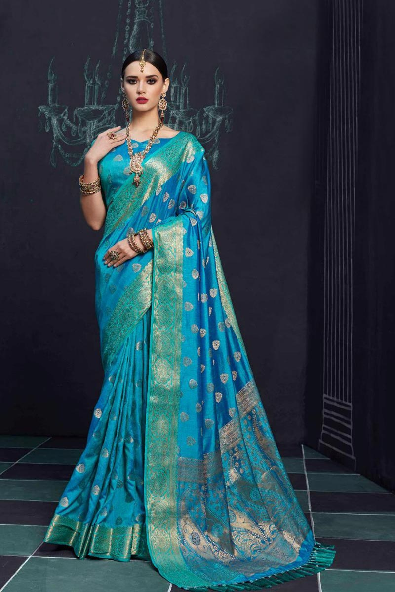 Gorgeous Art Silk Sky Blue Party Wear Designer Saree With Printed Work