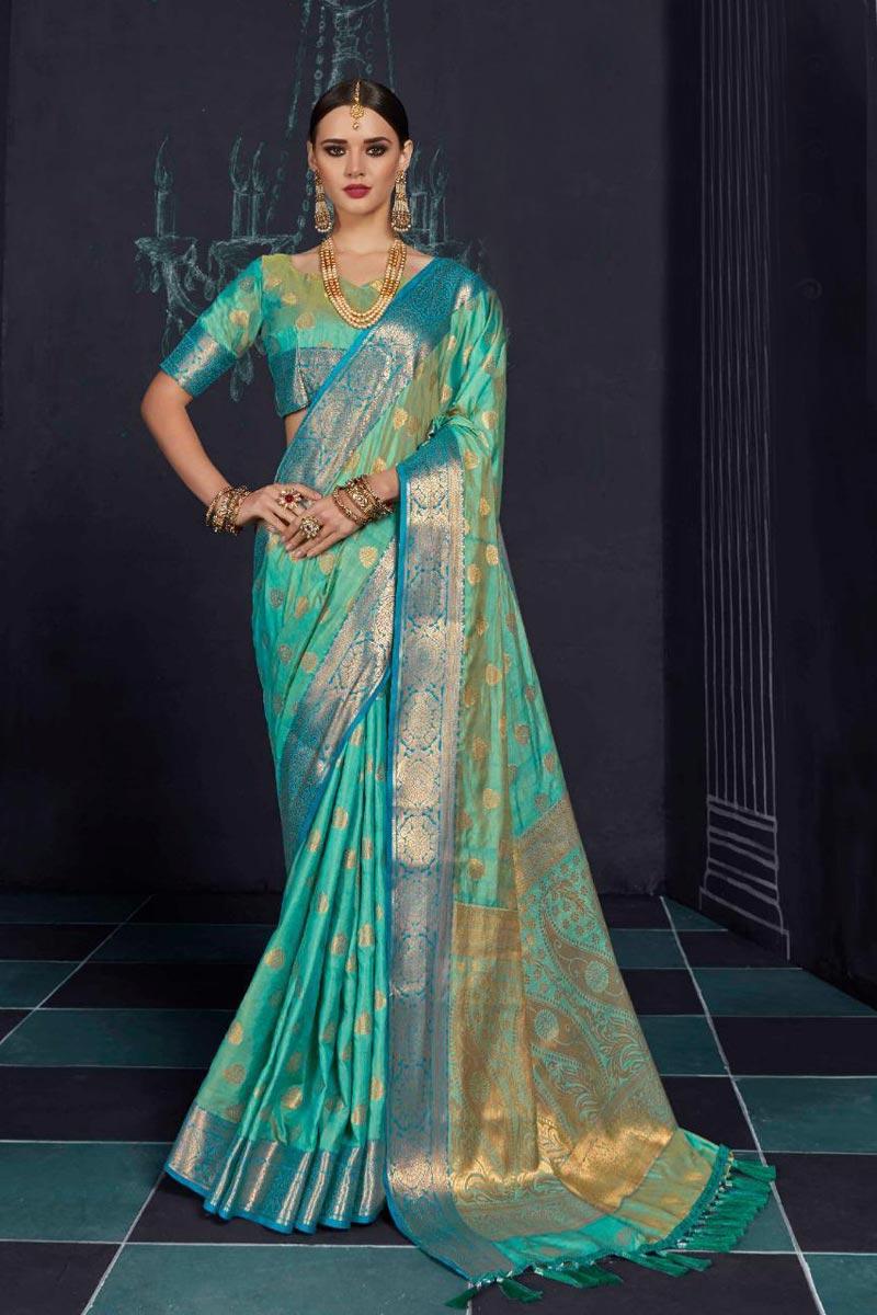 Luxurious Party Wear Designer Cyan Printed Saree In Art Silk