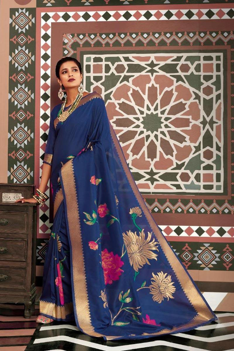 Art Silk Fabric Party Style Elegant Navy Blue Color Weaving Work Saree
