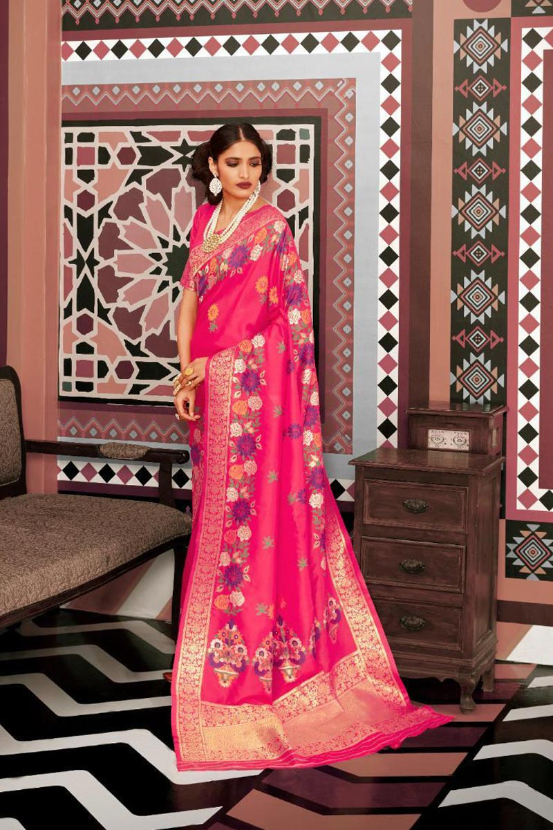 Party Style Rani Color Elegant Art Silk Fabric Weaving Work Saree