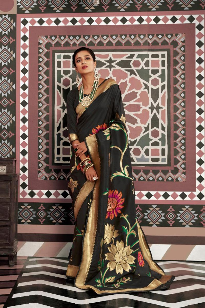 Art Silk Fabric Party Style Elegant Black Color Weaving Work Saree