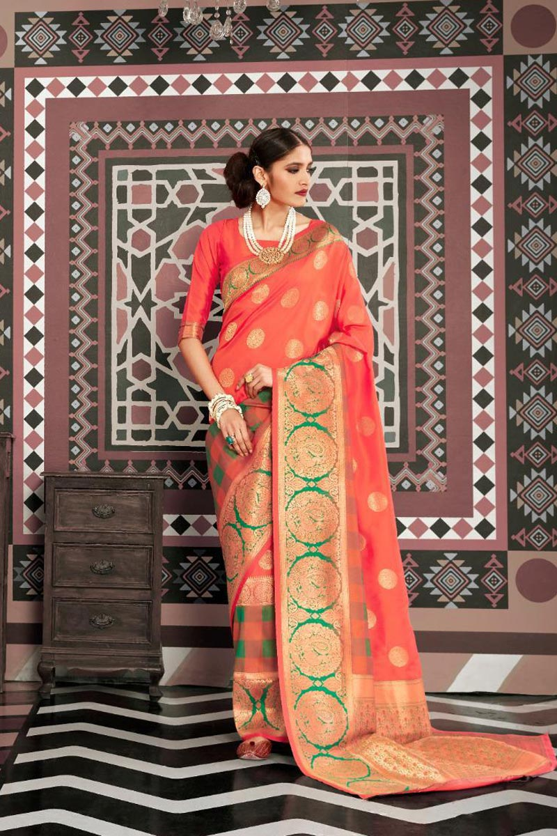 Party Style Orange Color Elegant Art Silk Fabric Weaving Work Saree