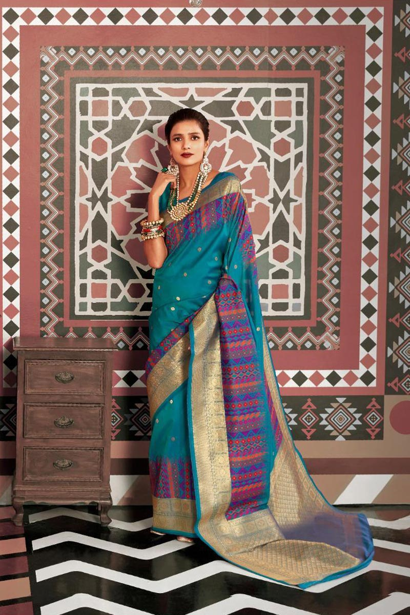 Art Silk Fabric Elegant Party Style Sky Blue Color Weaving Work Saree