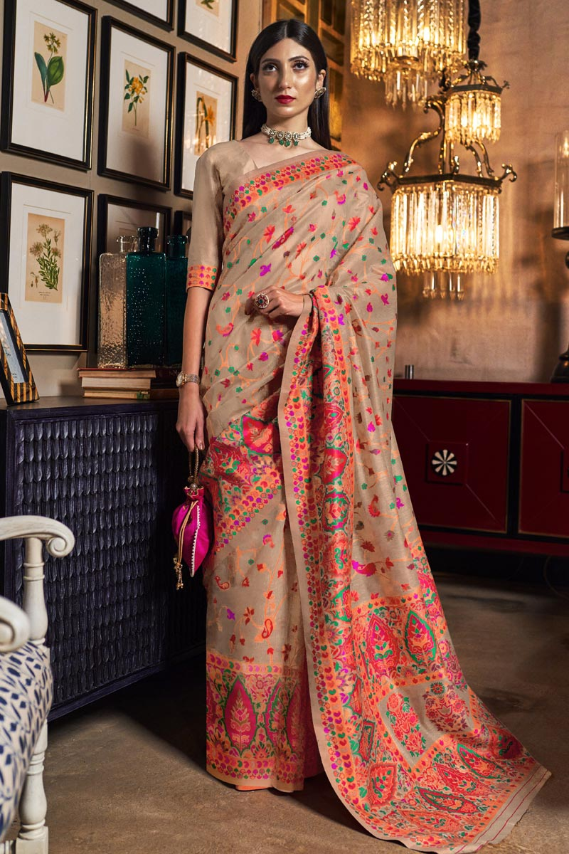Art Silk Fabric Sangeet Wear Chikoo Color Weaving Work Saree