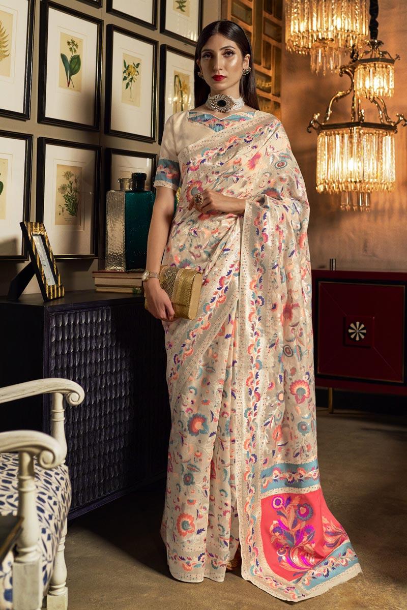 Sangeet Wear Art Silk Fabric Weaving Work Saree In Beige Color