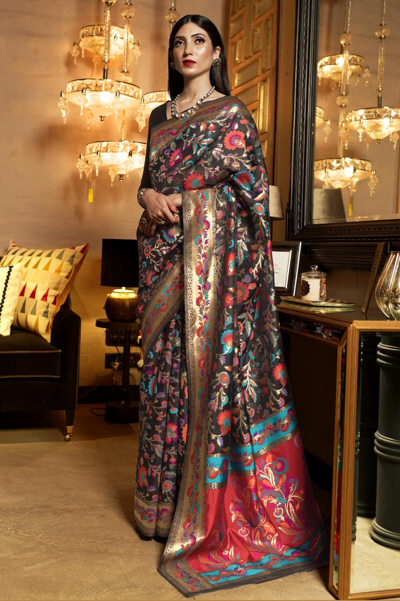 Art Silk Fabric Black Color Designer Saree