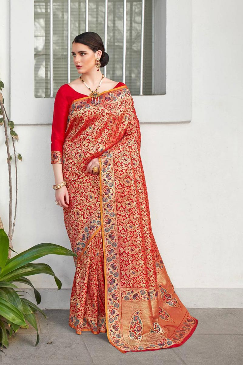 Art Silk Fancy Function Wear Red Color Saree With Weaving Work