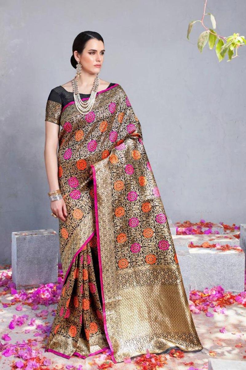 Function Wear Art Silk Fancy Weaving Work Saree In Black