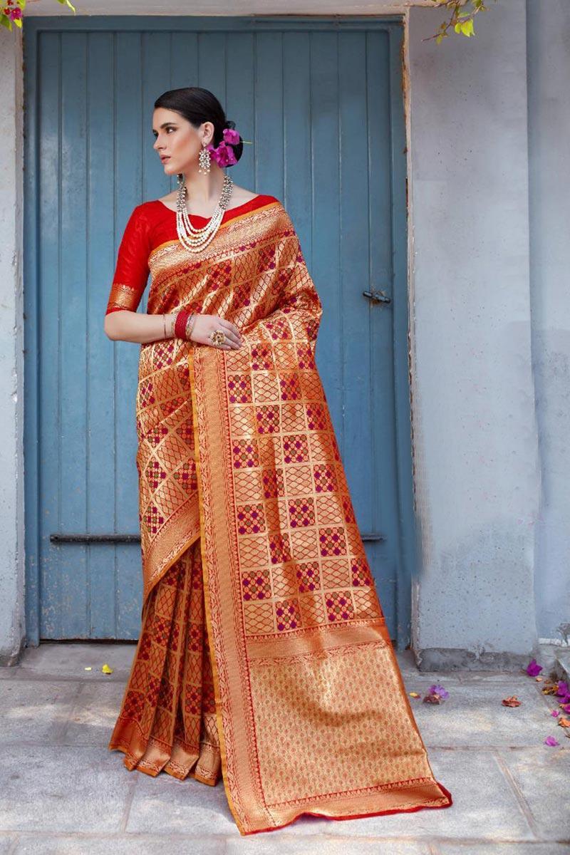 Red Fancy Function Wear Art Silk Saree With Weaving Work