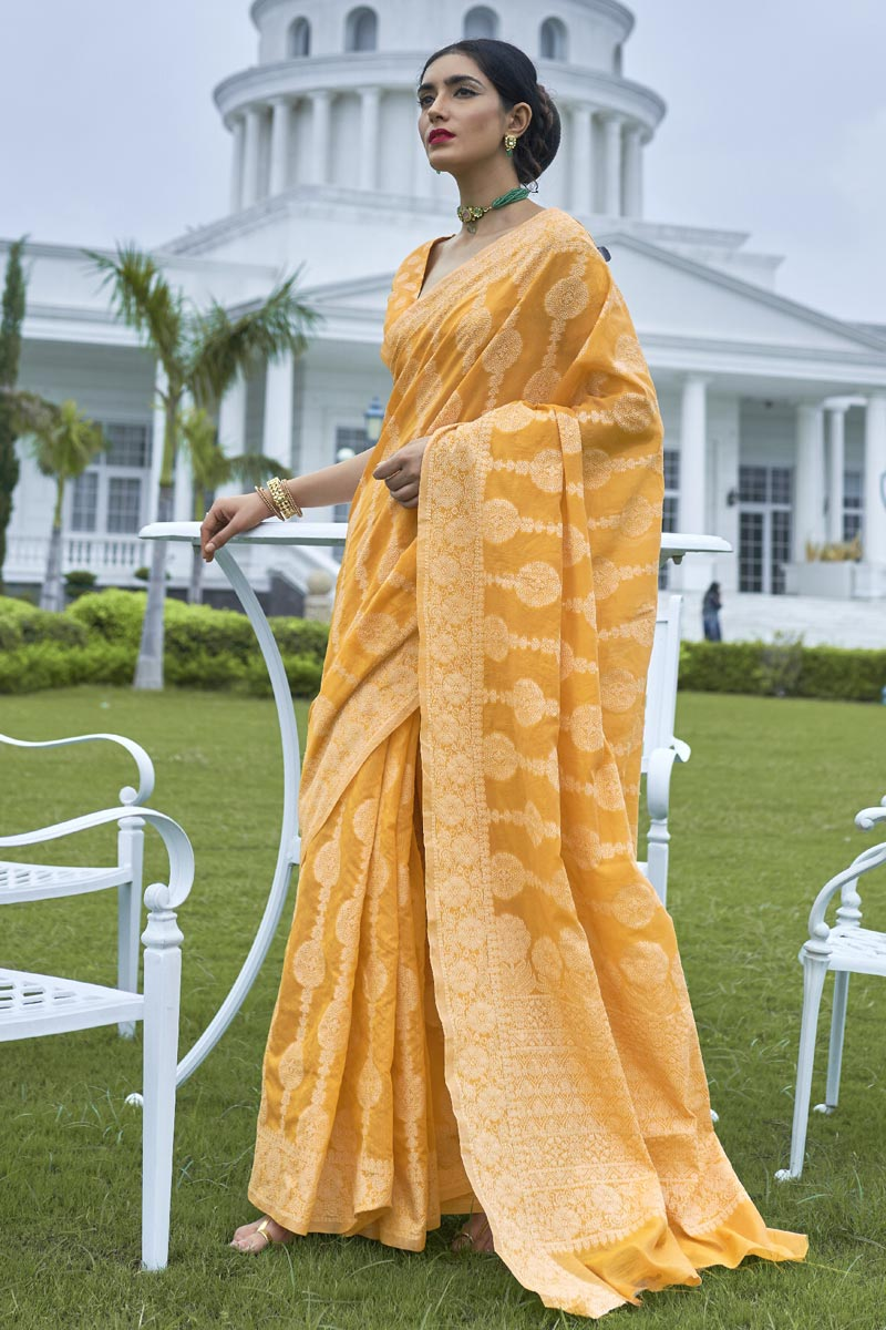 Fancy Fabric Party Wear Yellow Color Weaving Work Saree