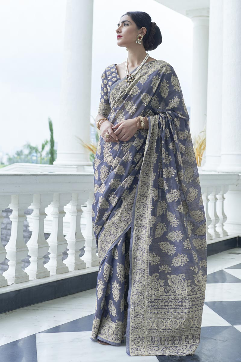 Party Wear Fancy Fabric Navy Blue Color Weaving Work Saree