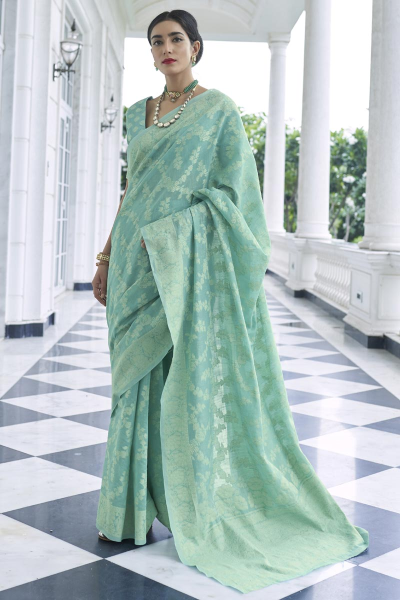 Party Wear Sea Green Color Weaving Work Saree In Fancy Fabric