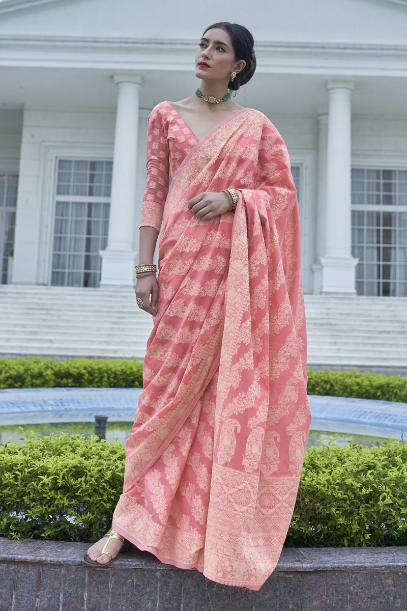 Party Wear Fancy Fabric Pink Color Weaving Work Saree
