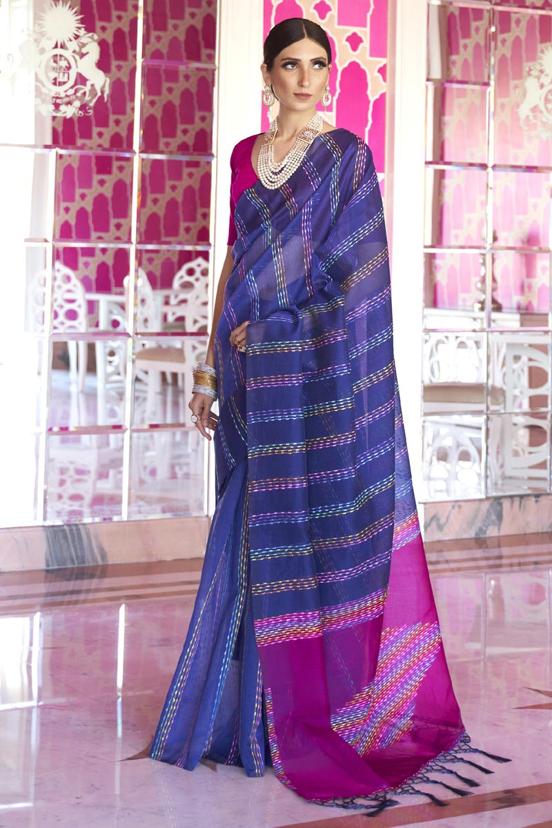 Office Party Wear Blue Color Chic Art Silk Fabric Weaving Work Saree