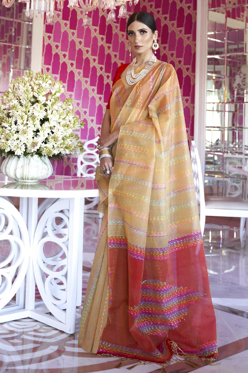 Art Silk Fabric Office Party Wear Chic Beige Color Weaving Work Saree