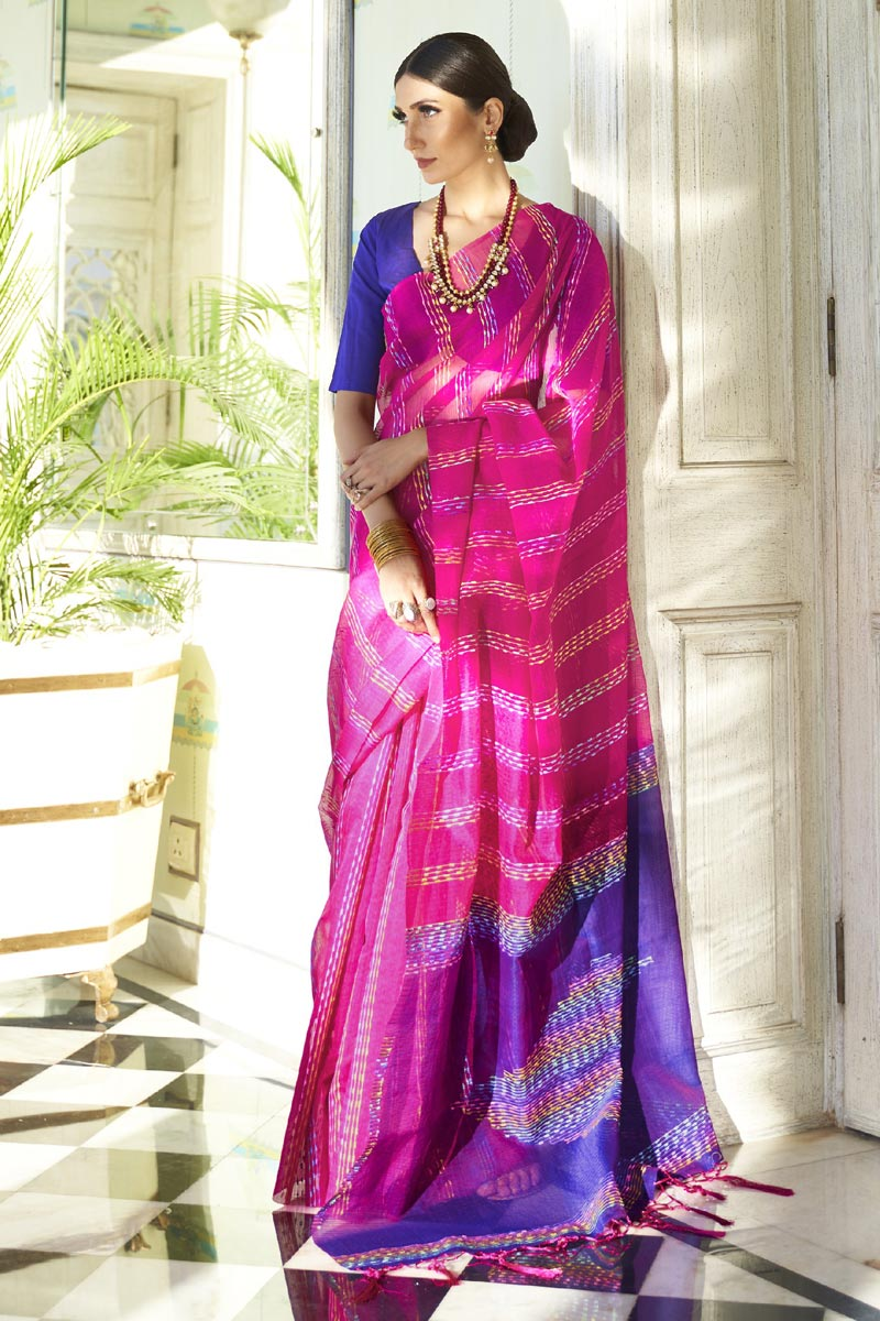 Office Party Wear Rani Color Chic Art Silk Fabric Weaving Work Saree
