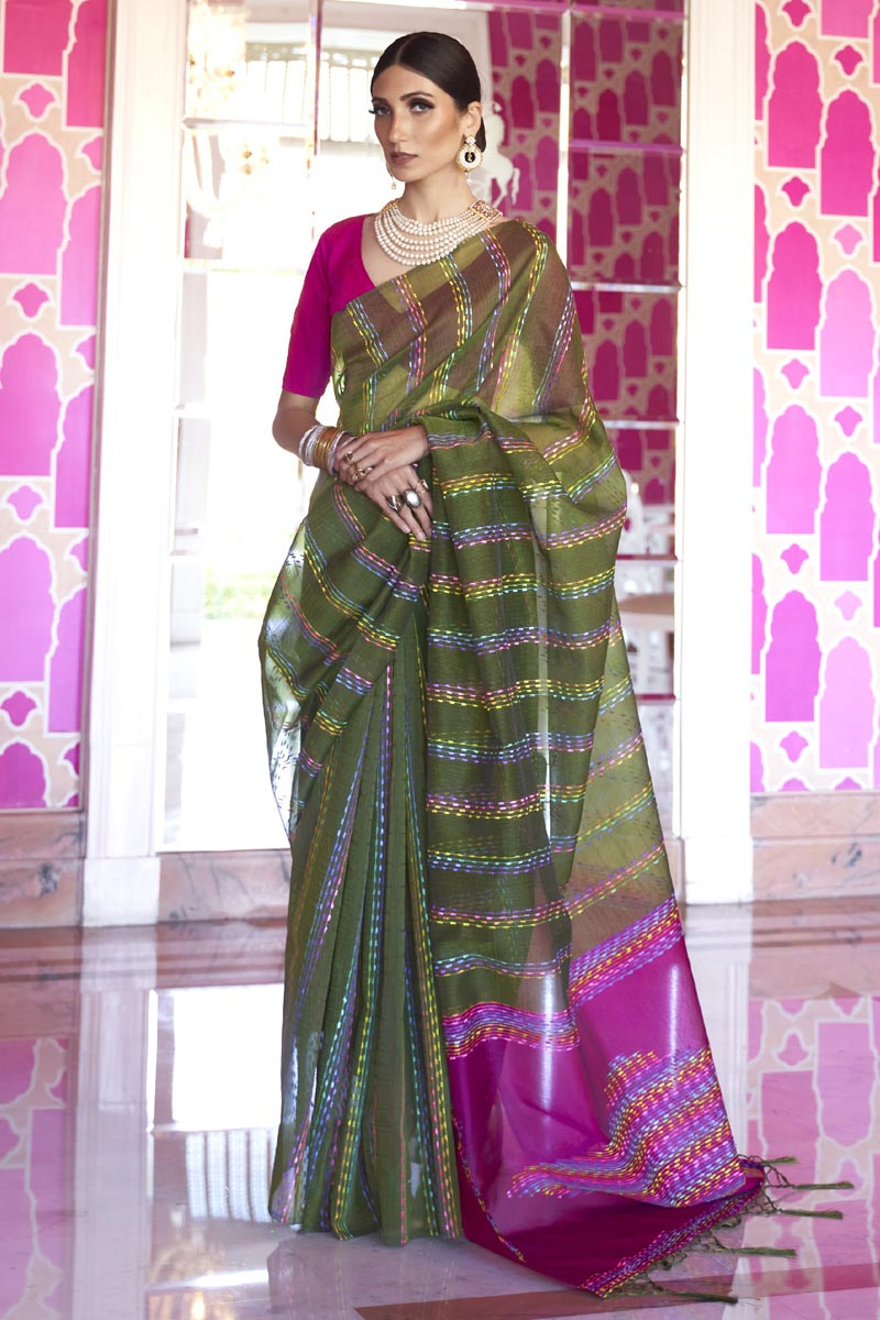 Art Silk Fabric Chic Office Party Wear Mehendi Green Color Weaving Work Saree