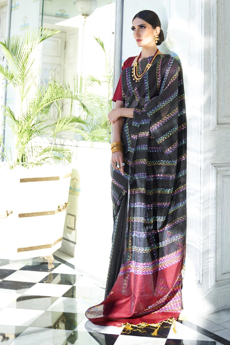 Office Party Wear Art Silk Fabric Chic Weaving Work Saree In Black Color