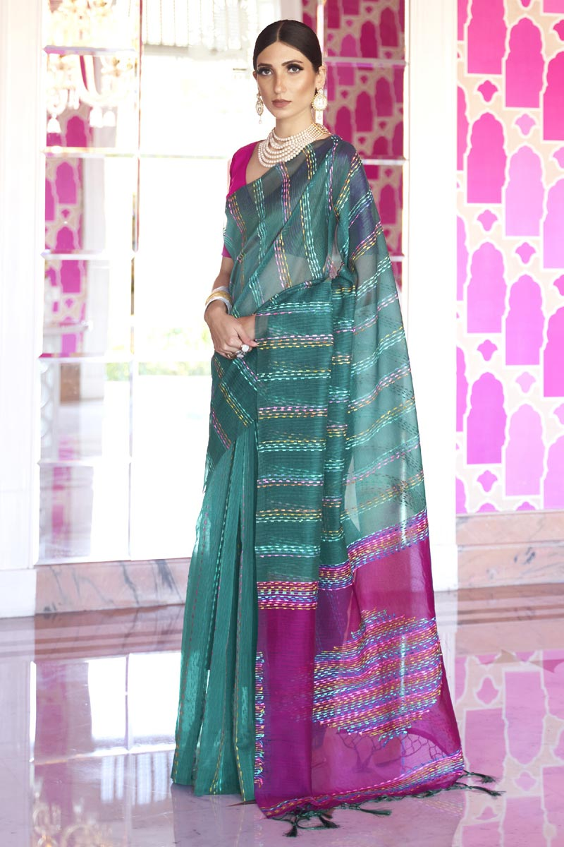 Art Silk Fabric Office Party Wear Chic Teal Color Weaving Work Saree