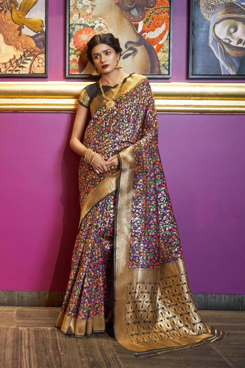 Traditional Wear Fancy Black Saree In Art Silk With Weaving Work