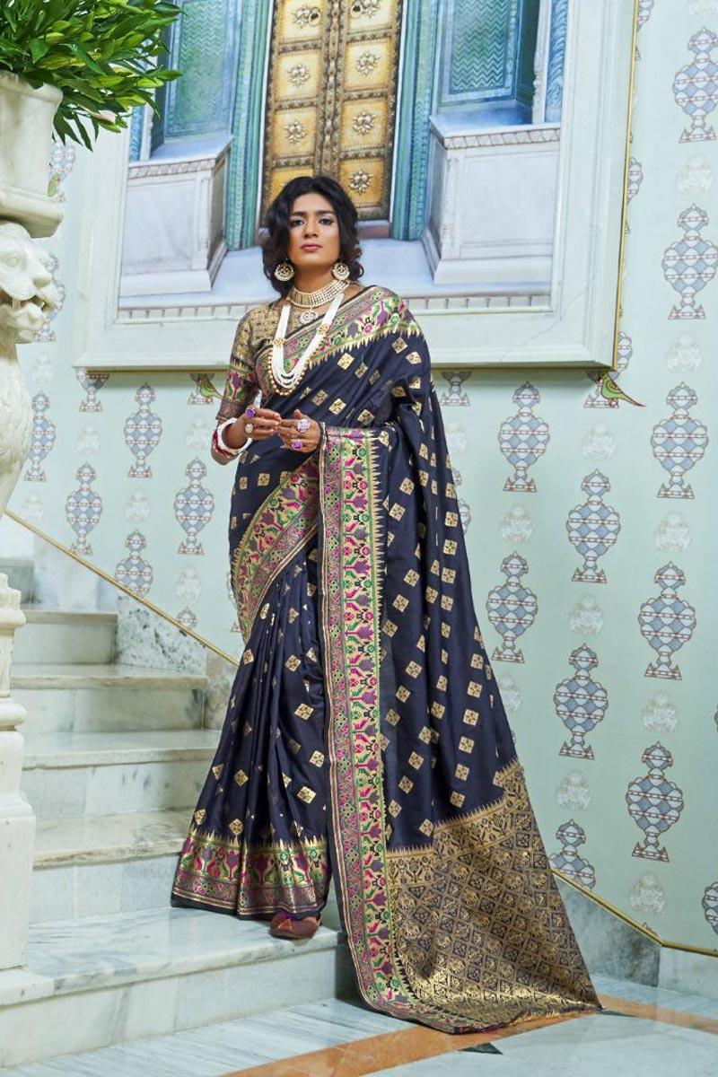 Sangeet Wear Fancy Navy Blue Color Saree In Art Silk With Weaving Work