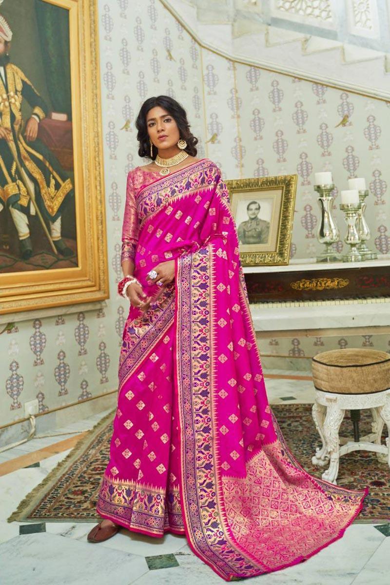 Art Silk Rani Color Sangeet Wear Fancy Saree With Weaving Work