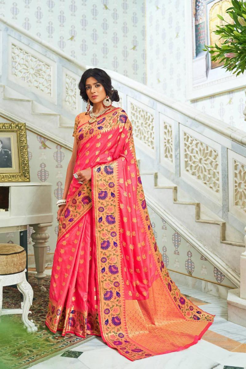 Pink Sangeet Wear Art Silk Fancy Saree With Weaving Work