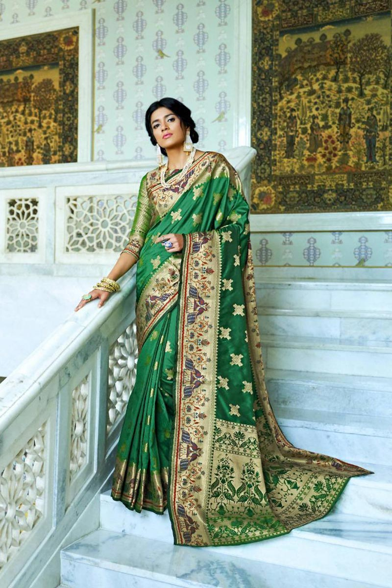 Art Silk Sangeet Wear Fancy Green Saree With Weaving Work