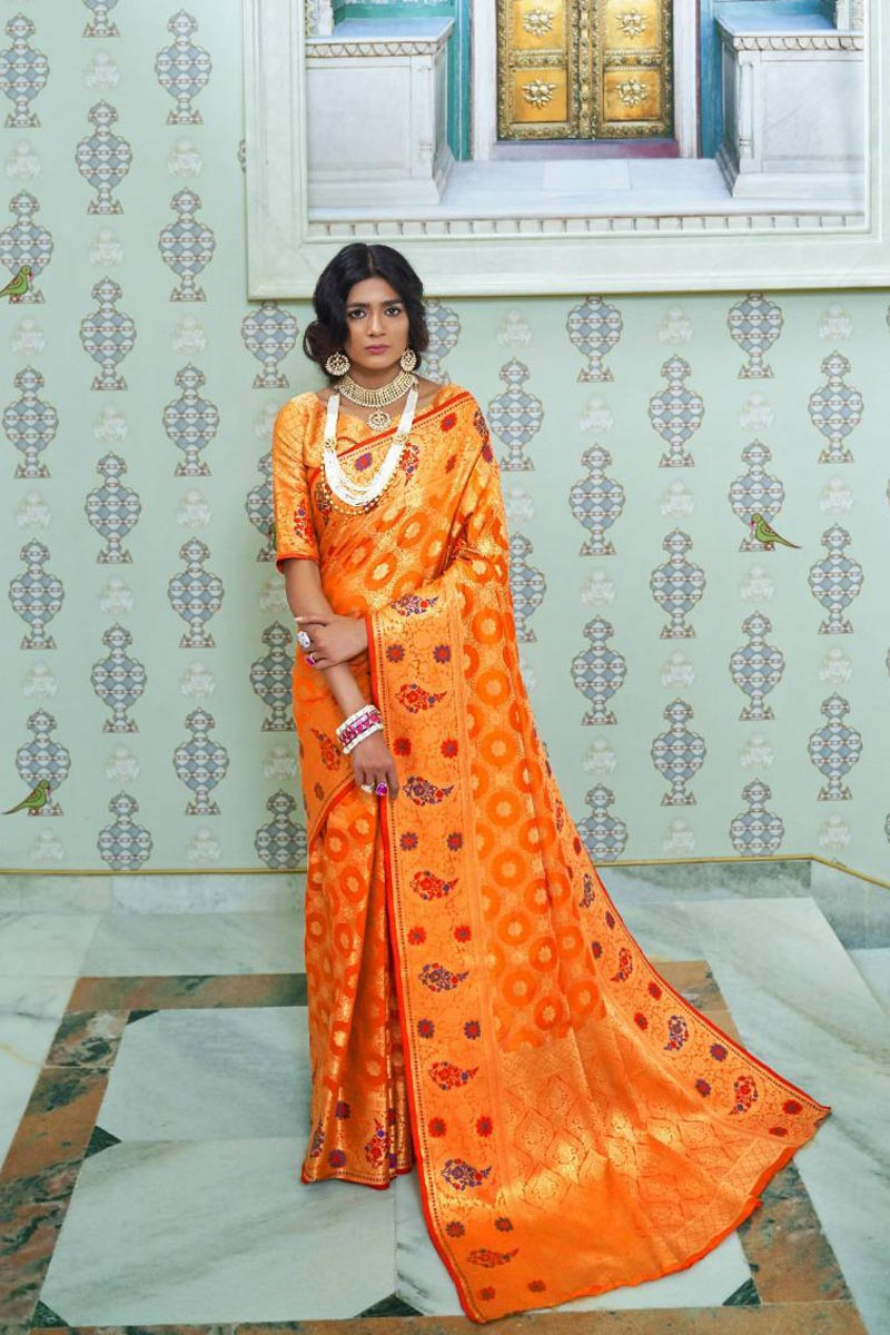 Art Silk Sangeet Wear Orange Fancy Saree With Weaving Work