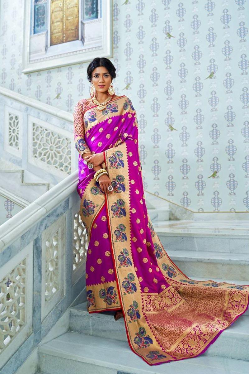 Sangeet Wear Fancy Magenta Color Saree In Art Silk With Weaving Work