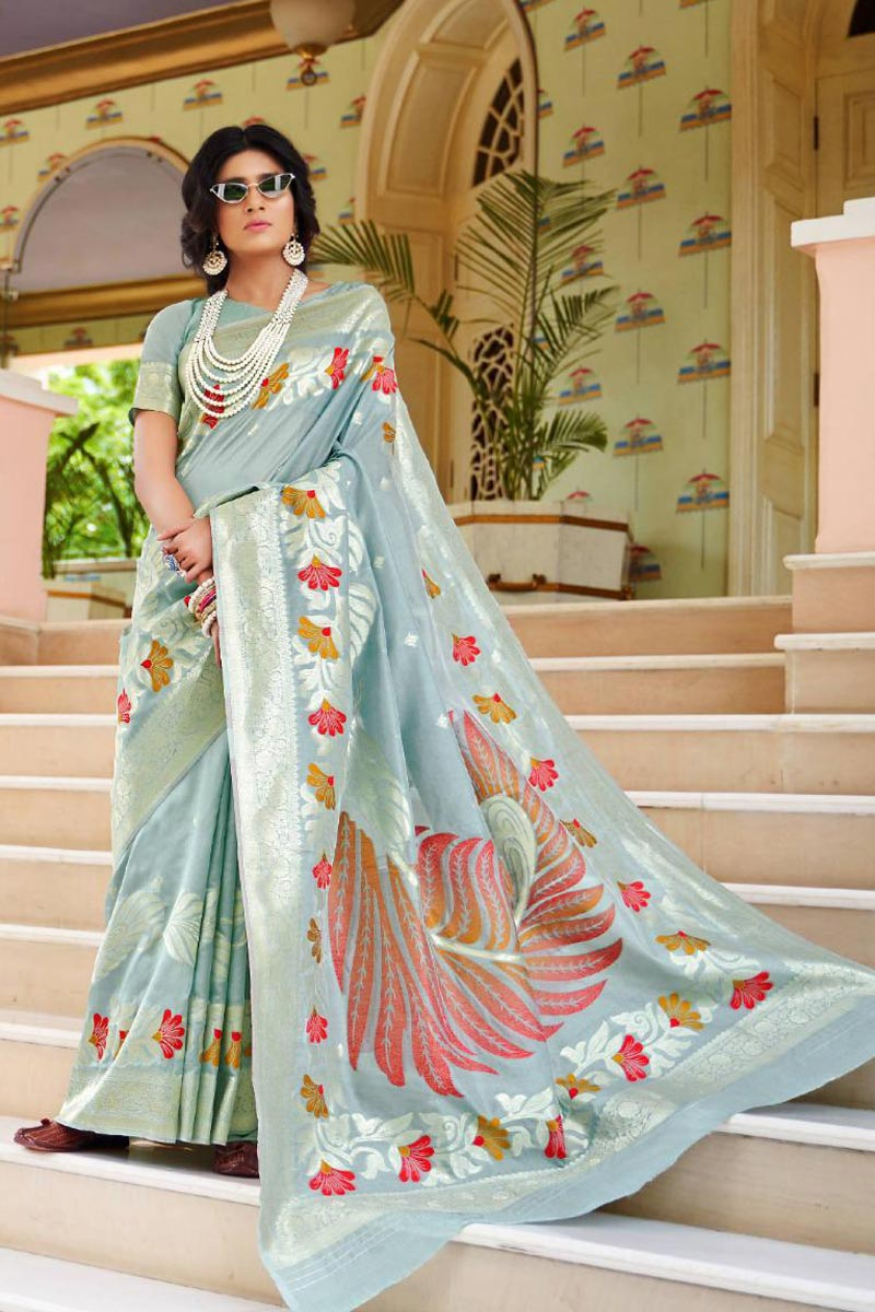 Grey Art Silk Fabric Party Style Fancy Weaving Work Saree