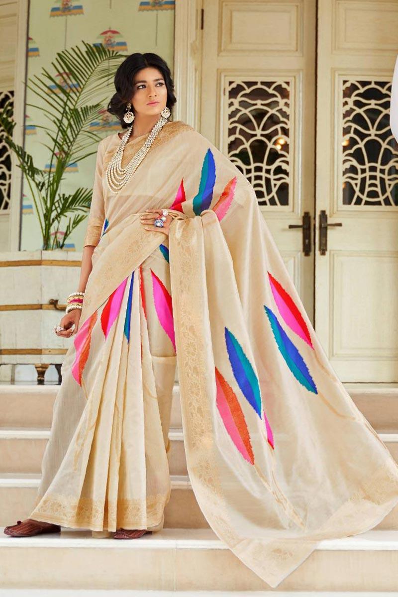 Party Style Art Silk Fabric Fancy Weaving Work Saree In Beige