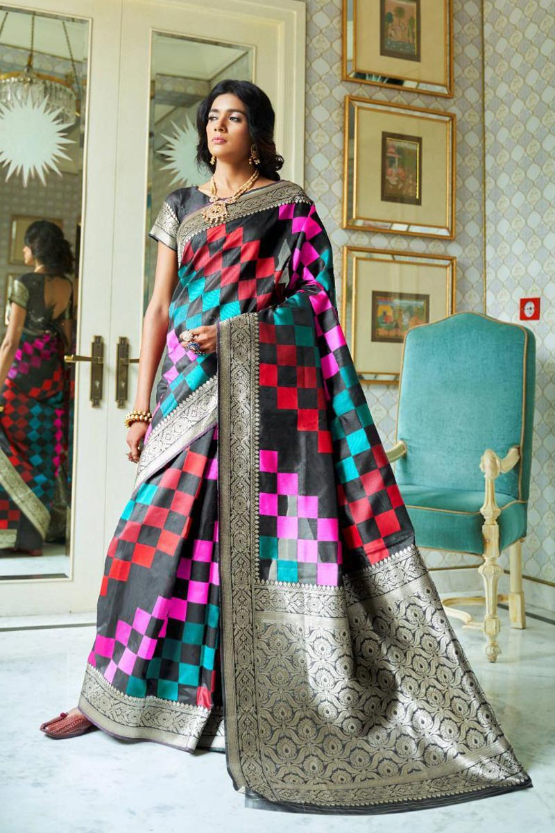 Art Silk Fabric Party Style Fancy Weaving Work Black Saree