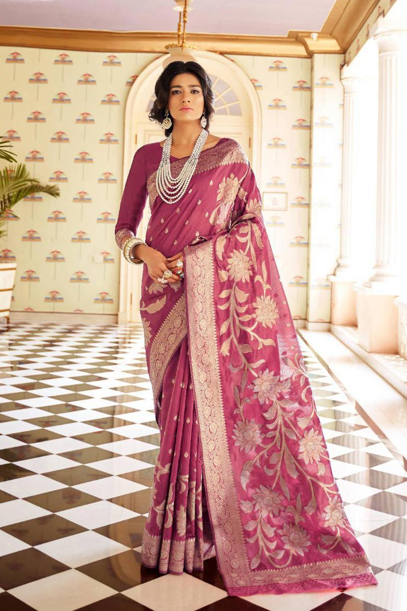 Party Style Art Silk Fabric Fancy Pink Weaving Work Saree