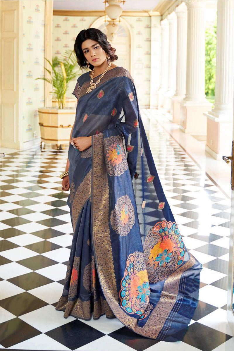 Party Style Navy Blue Art Silk Fabric Fancy Weaving Work Saree