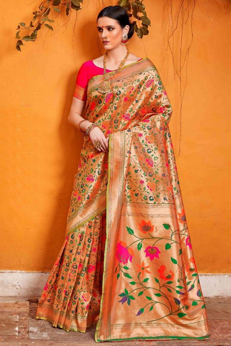 Designer Peach Art Silk Fabric Trendy Party Wear Saree With Weaving Work