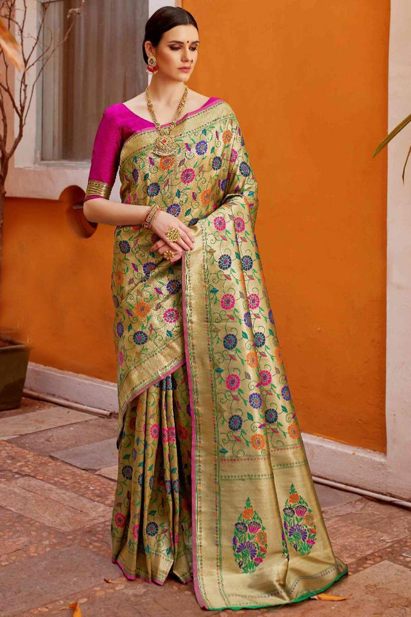 Beige Color Designer Art Silk Fabric Saree For Functions With Weaving Work