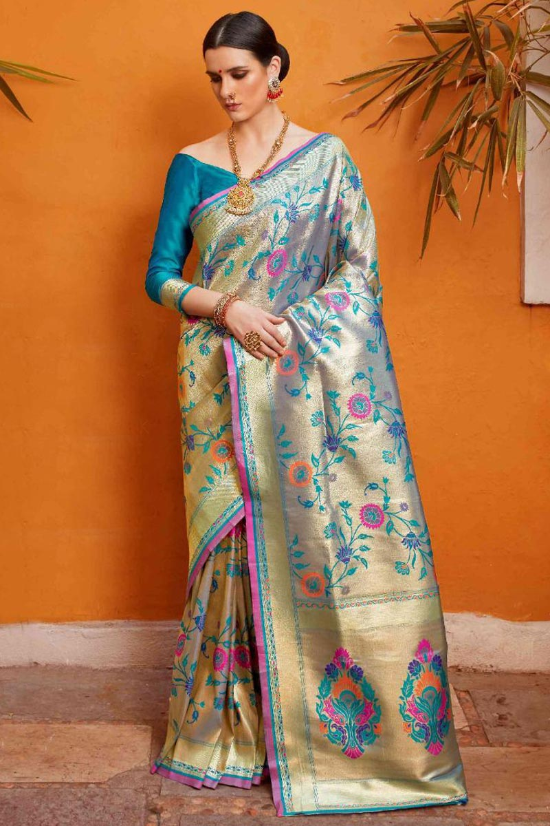 Sky Blue Color Trendy Party Style Art Silk Fabric Designer Saree With Weaving Work