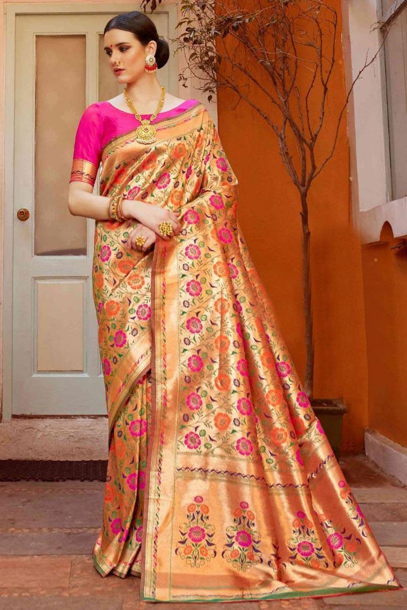 Art Silk Fabric Designer Rani Trendy Party Style Weaving Work Saree
