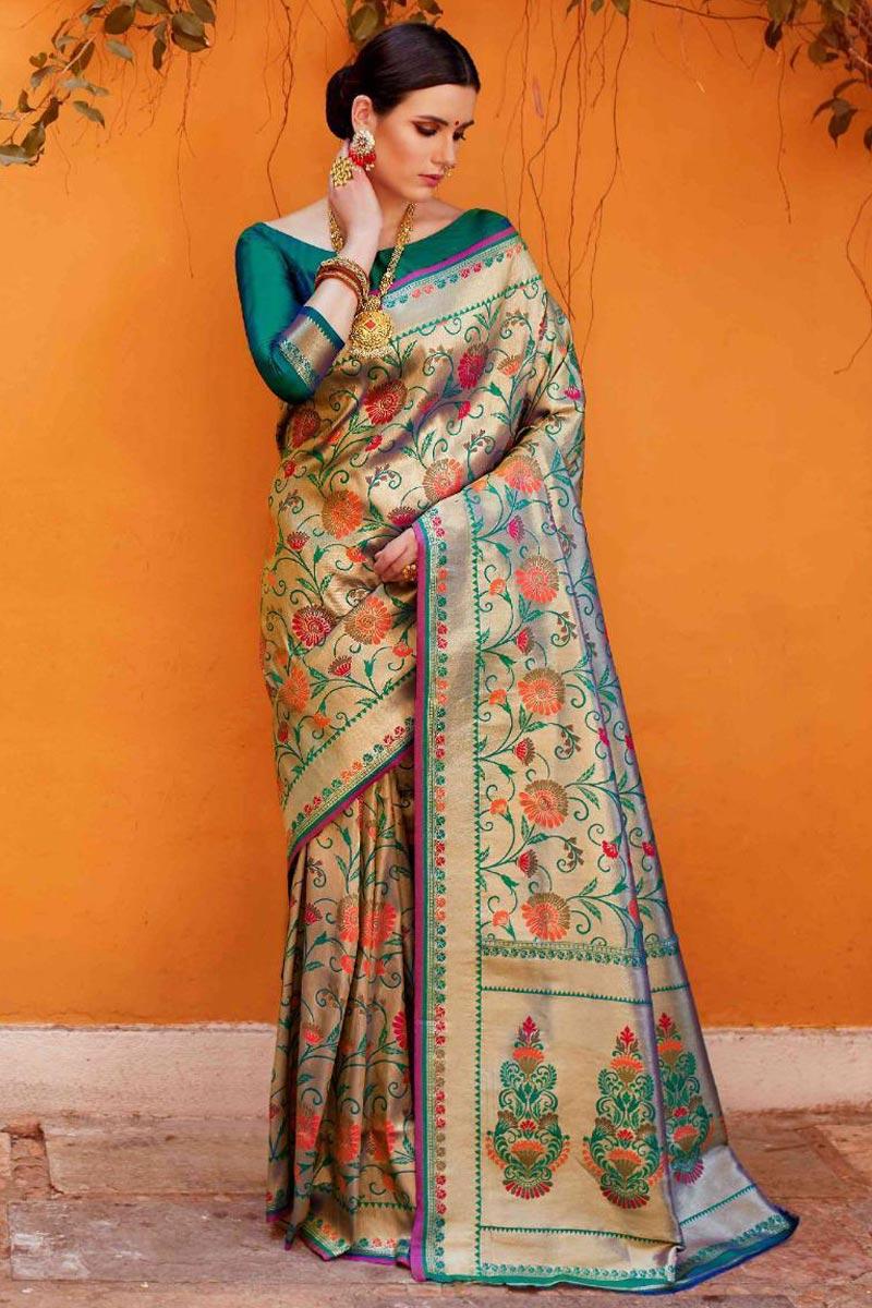 Designer Function Wear Art Silk Fabric Saree In Teal With Weaving Work