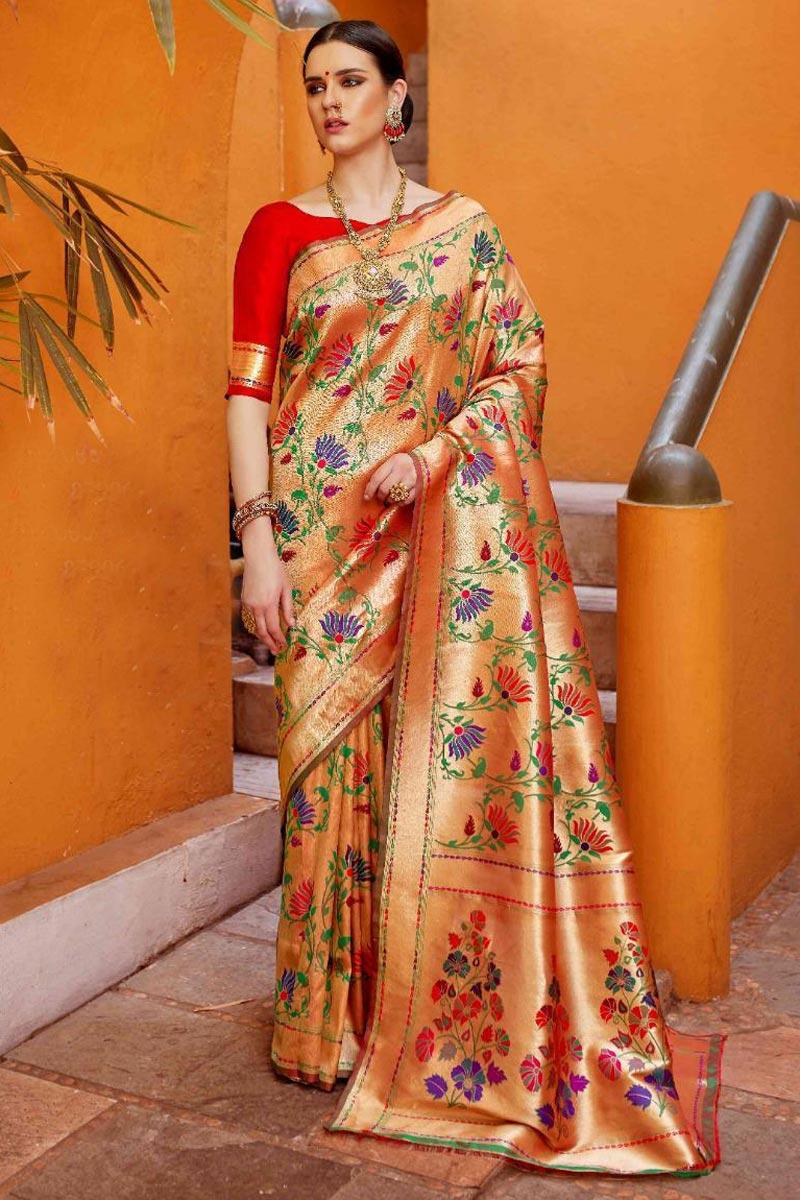 Trendy Party Wear Designer Beige Art Silk Fabric Weaving Work Saree