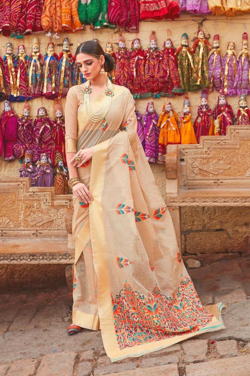 Beige Color Linen Fabric Sangeet Wear Designer Weaving Work Saree