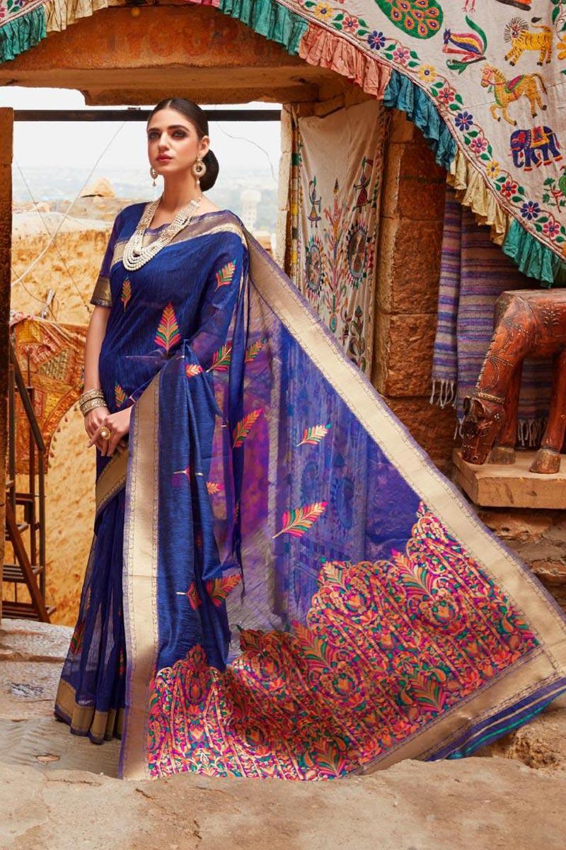 Linen Fabric Designer Sangeet Wear Blue Color Weaving Work Saree