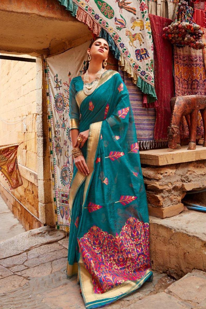 Teal Color Sangeet Wear Designer Linen Fabric Weaving Work Saree