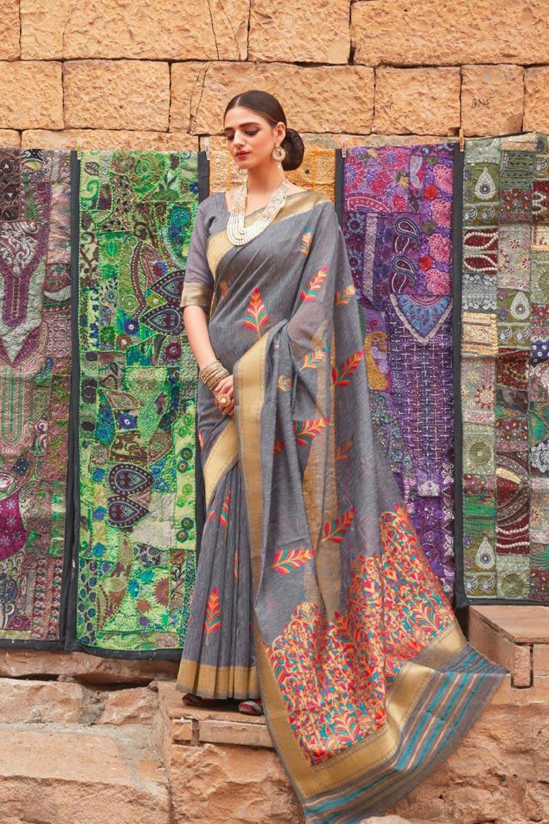 Linen Fabric Sangeet Wear Designer Grey Color Weaving Work Saree