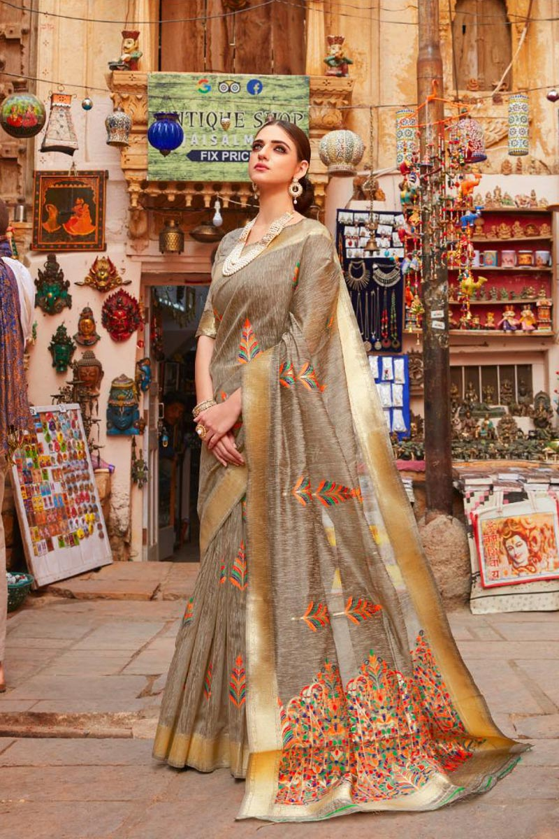 Sangeet Wear Linen Fabric Designer Weaving Work Saree In Cream Color