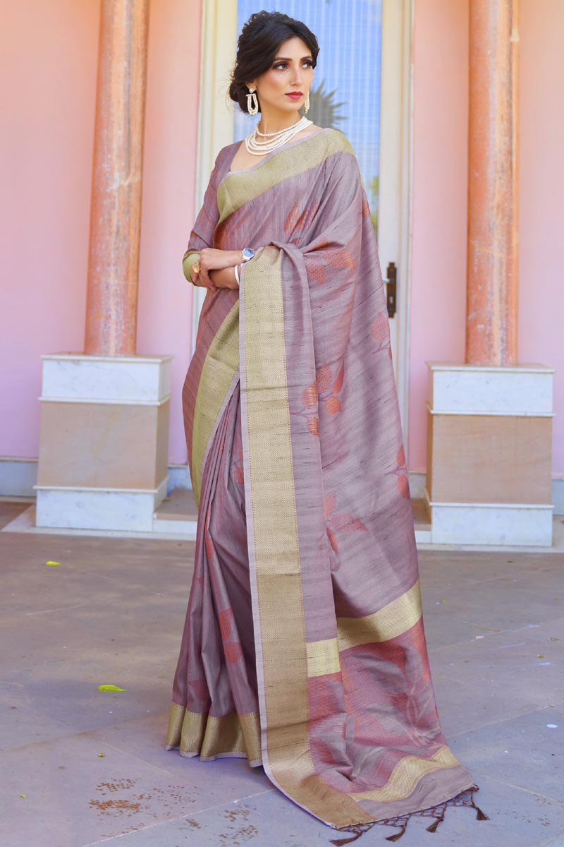 Festive Wear Art Silk Fabric Classic Handloom Weaving Work Saree In Lavender Color