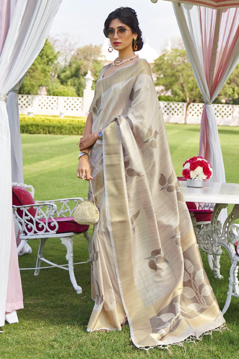 Cream Color Festive Wear Classic Art Silk Fabric Handloom Weaving Work Saree